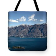 lake with Brissago islands and snow-capped mountain Tote Bag