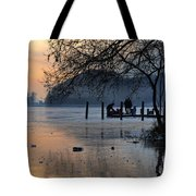 Lake With Ice In Sunset Tote Bag