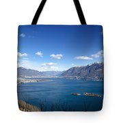 Lake With Islands And Snow-capped Mountain Tote Bag