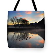 Lake With Trees And Ducks Tote Bag