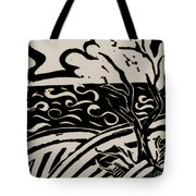 Land Sea Sky In Black And White Tote Bag