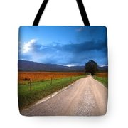 Lane Across Valley Tote Bag