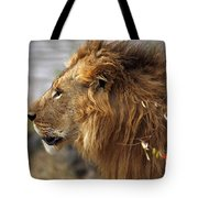 Large Male Lion Emerging From The Bush Tote Bag