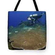 Large Staghorn Coral And Scuba Diver Tote Bag