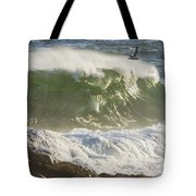 Large Waves And Seagulls Near Pemaquid Point On Maine Tote Bag