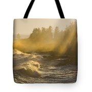 Large Waves Lightbeams Pemaquid Point Maine Tote Bag