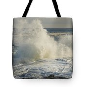 Large Waves On Rocky The Coast Maine Tote Bag