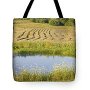 Late Summer Hay Being Harvested In Maine Canvas Poster Print Tote Bag