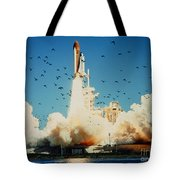 Launch Of Space Shuttle Challenger 51-l Tote Bag