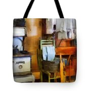 Laundry Drying In Kitchen Tote Bag by Susan Savad