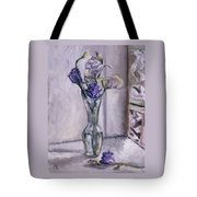 Lavender Flowers In A Glass Vase With Glass Block Window Tote Bag