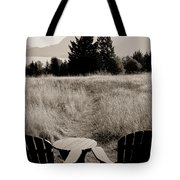 Lawn Chair View Of Field Tote Bag by Darcy Michaelchuk