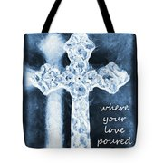 Lead Me To The Cross With Lyrics Tote Bag