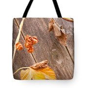 Leaf And Old Wood Fence Tote Bag