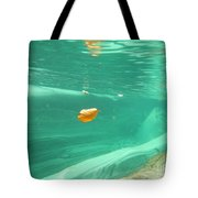 Leaf Floating Under The Water Tote Bag