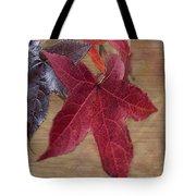 Leaf In Red Tote Bag