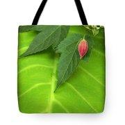 Leaf On Leaf With Red Bud Tote Bag