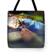 Leaves On Rock In Stream Tote Bag by Sharon Talson