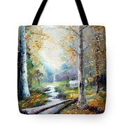 Leaving The Woodland Creek  Tote Bag
