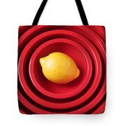 Lemon In Red Bowls Tote Bag by Garry Gay