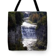 Letchworth State Park Middle Falls With Watercolor Effect Tote Bag