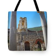 Library Of Celsus And Columns Tote Bag