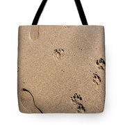 Footprints Mans Best Friend Tote Bag