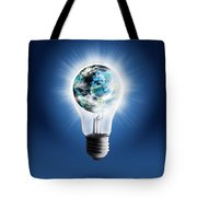 Light Bulb With Globe Tote Bag