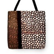 Light Coming Through The Stone Lattice At Humayun Tomb Tote Bag