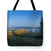 Light House At A Harbor, County Dublin Tote Bag