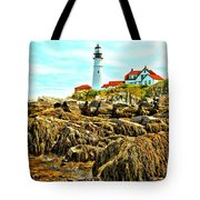 Light Over The Rocks Tote Bag