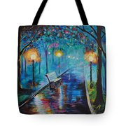 Lighted Park Path Tote Bag