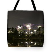Lighted Supertrees Of The Gardens By The Bay In Singapore Tote Bag