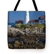 Lighthouse And Rocks Tote Bag