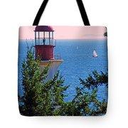 Lighthouse And Sailboats Tote Bag