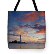 Lighthouse At Sunrise Tote Bag
