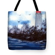 Lighthouse Blues Painterly Style Tote Bag