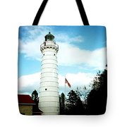 Lighthouse In Door County Tote Bag