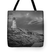 Lighthouse In The Moonlight At Peggy's Cove Nova Scotia Canada Tote Bag