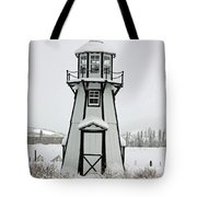 Lighthouse In The Snow Tote Bag