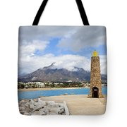 Lighthouse On Costa Del Sol In Spain Tote Bag