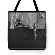 Lighthouse Shutter Black And White Tote Bag