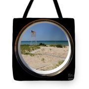 Lighthouse Window To Lake Tote Bag