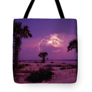 Lightning Illuminates The Purple Sky Tote Bag