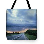 Lightning Over Highway, Bee Line Tote Bag