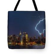 Lightning Over New York City Vii Tote Bag