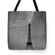 Lightning Strikes Eiffel Tower, 1902 Tote Bag