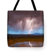Lightning Striking Longs Peak Foothills 3 Tote Bag