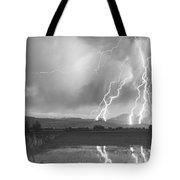 Lightning Striking Longs Peak Foothills 4bw Tote Bag