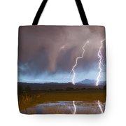 Lightning Striking Longs Peak Foothills Tote Bag